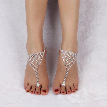 Tiered Triangle Rhinestone Toe Ring Anklet