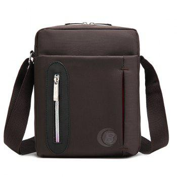 Casual Nylon Zip Messenger Bag - COFFEE COFFEE