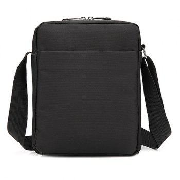 Casual Nylon Zip Messenger Bag - Noir