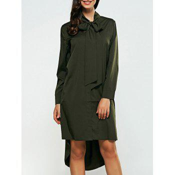 Long Sleeves Bowknot High Low Shirt Dress