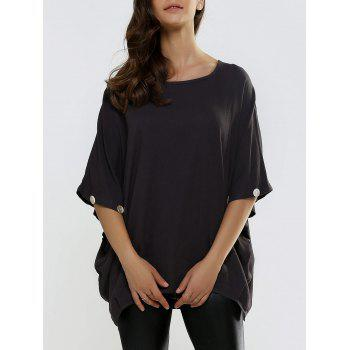 Batwing Sleeve Button Design Loose-Fitting Blouse