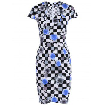 Plaid Cape Sleeve Sweetheart Neck Printed  Sheath Dress