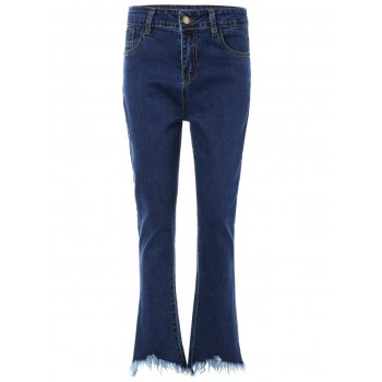 Frayed Trim Bootcut Jeans