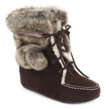Hairball Suede Lace Up Faux Fur Ankle Snow Boots