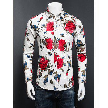 3D Rose Printed Turn-Down Collar Plus Size Long Sleeve Shirt
