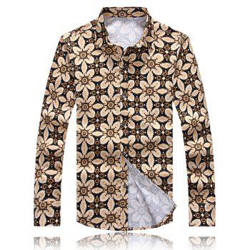 Palace Floral Printed Turn-Down Collar Plus Size Long Sleeve Shirt