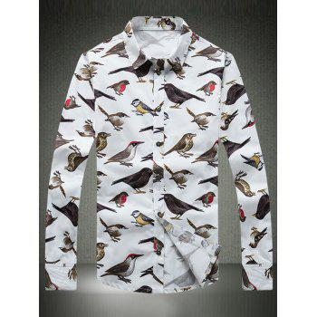 Colorful Birds Printed Turn-Down Collar Plus Size Long Sleeve Shirt