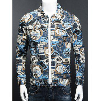 Stamp Print Turn-Down Collar Plus Size Long Sleeve Denim Jacket