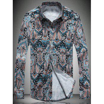 Color Block Paisley Printed Turn-Down Collar Long Sleeve Shirt