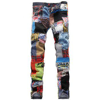Slimming Button Fly Rag Patch Splicing Jeans