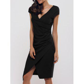 Slimming Draped Slit Surplice Dress