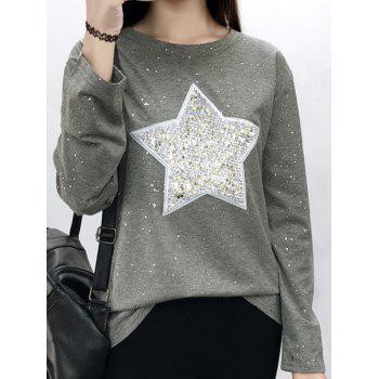 Star Sequins Long Sleeve Sparkly T-Shirt - GRAY GRAY