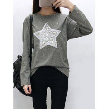 Star Sequins Long Sleeve Sparkly T-Shirt - GRAY XL