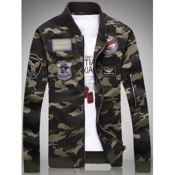 Plus Size Appliques Rib Spliced Stand Collar Long Sleeve Camouflage Jacket - CAMOUFLAGE 5XL