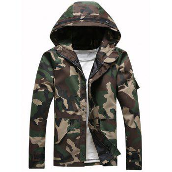 Loose-Fitting Hooded Long Sleeve Camouflage Jacket