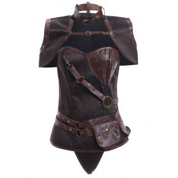 Steampunk PU Leather Corset With T-Back