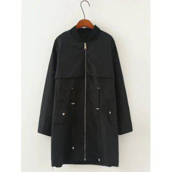 Drawstring Pocket Trench Coat - BLACK BLACK