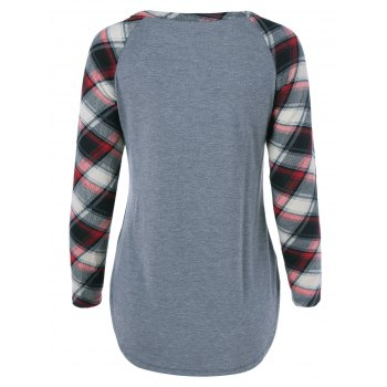Single Pocket Plaid Full Sleeve T-Shirt - GRAY GRAY