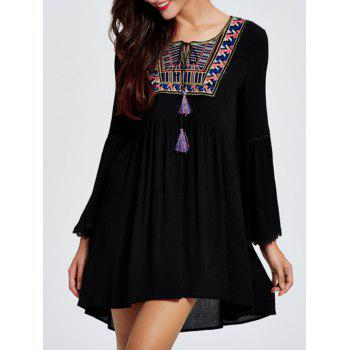 Bell Sleeve Ethnic Print Tassel Loose Mini Dress