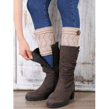 Casual Button Letter W Shape Knitted Boot Cuffs - KHAKI KHAKI