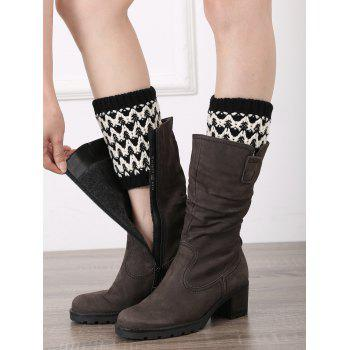 Casual Wavy Stripe Knitted Boot Cuffs - BLACK BLACK