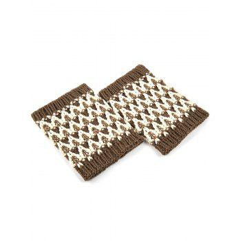 Casual Wavy Stripe Knitted Boot Cuffs -  COFFEE