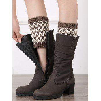 Casual Wavy Stripe Knitted Boot Cuffs - COFFEE COFFEE