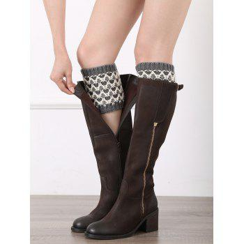 Casual Wavy Stripe Knitted Boot Cuffs - GRAY GRAY