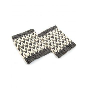 Casual Wavy Stripe Knitted Boot Cuffs -  GRAY