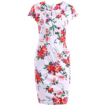 Cape Sleeve Sweetheart Neck Sheath Printed Dress