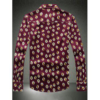Owl Printed Turn-Down Collar Plus Size manches longues - Rouge vineux L