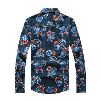 3D Fleur Imprimé Tournez-Down Collar Plus Size Long Sleeve Denim Shirt - Denim Bleu XL