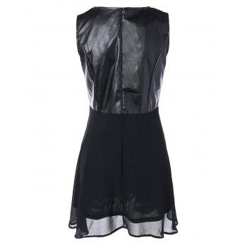 Chiffon Spliced PU Leather High Waist Dress - BLACK XL