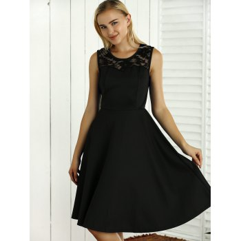 Sleeveless Lace Spliced Openwork Flare Dress - BLACK 2XL