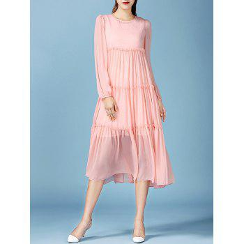 Fairy Lace Tank Dress with Long Sleeve Pleated Smock Flowy Dress - PINK S