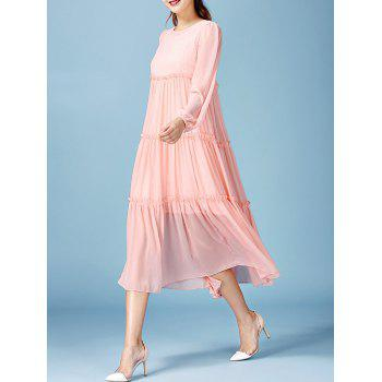 Fairy Lace Tank Dress with Long Sleeve Pleated Smock Flowy Dress - PINK L