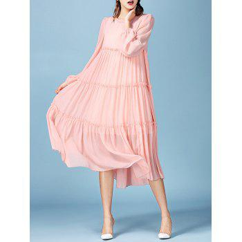 Fairy Lace Tank Dress with Long Sleeve Pleated Smock Flowy Dress - PINK XL