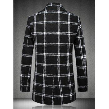 Checked Turn-Down Collar Plus Size Long Sleeve Single-Breasted Coat - WHITE/BLACK L