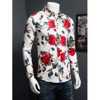 3D Rose Printed Turn-Down Collar Plus Size Long Sleeve Shirt - WHITE XL