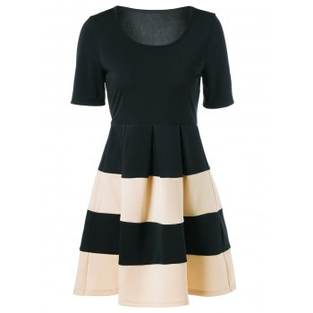 Color Block Ball Gown Dress - YELLOW/BLACK L