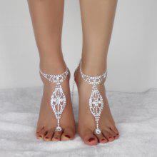 Rhinestoned Geometric Toe Ring Anklet