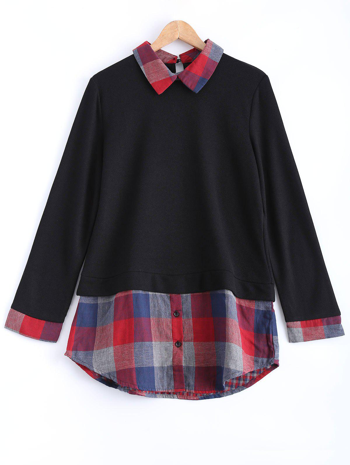 Plaid Long Sleeve A Line SweaterWomen<br><br><br>Size: 4XL<br>Color: BLACK