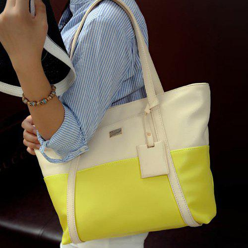 Metal PU Leather Colour Splicing Shoulder Bag, Yellow
