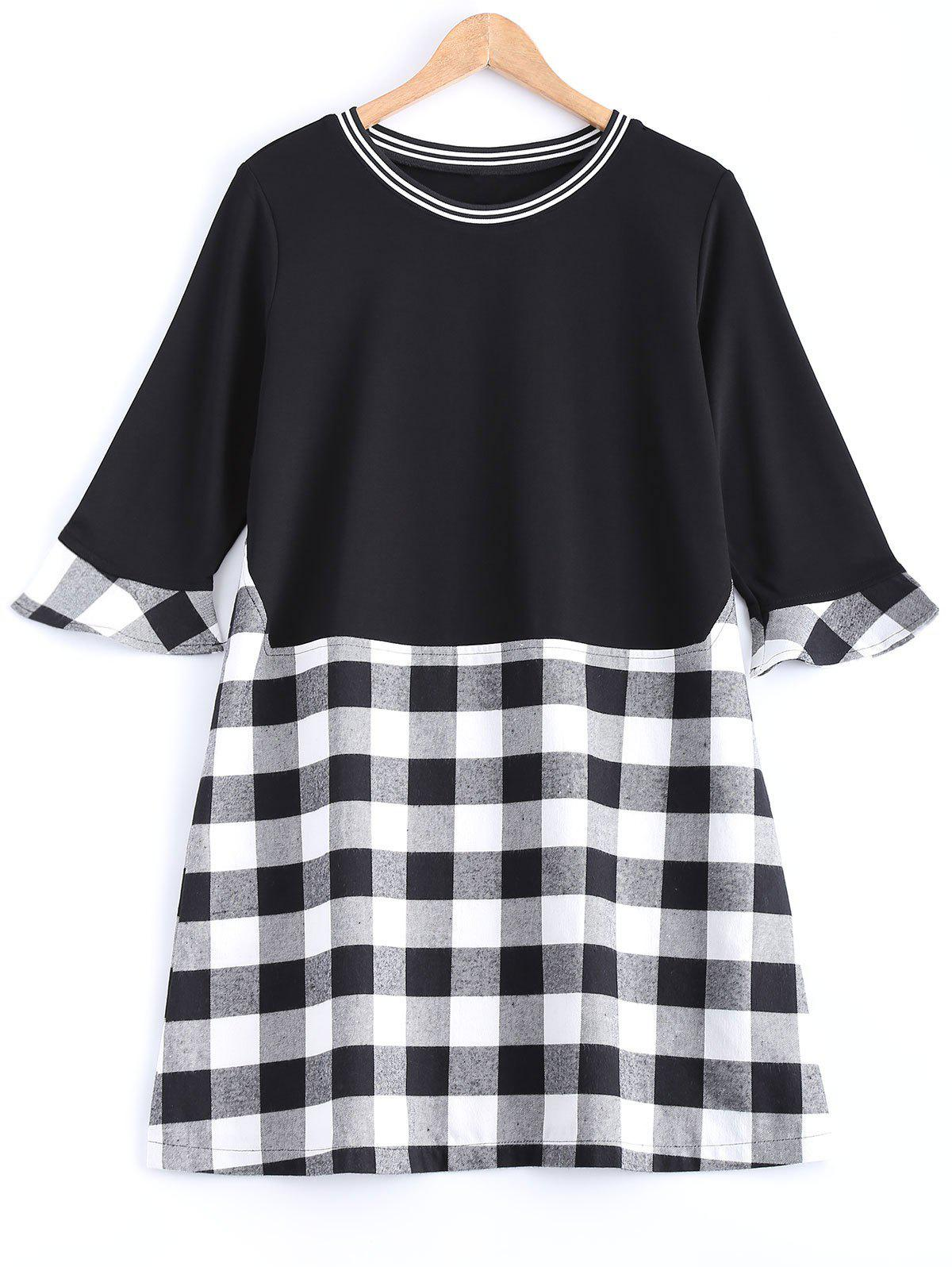 Plaid Flare Sleeve Long Tee