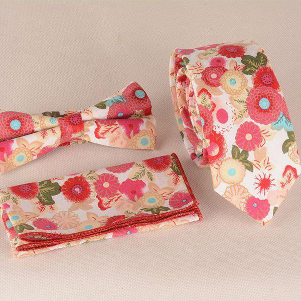 A Set of Scrawl Flowers Pattern Tie Pocket Square Bow TieAccessories<br><br><br>Color: WHITE