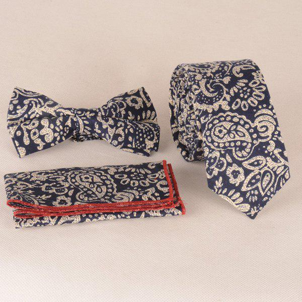 A Set of Paisley Pattern Tie Pocket Square Bow Tie a set of oil painting flower leaf pattern tie pocket square bow tie