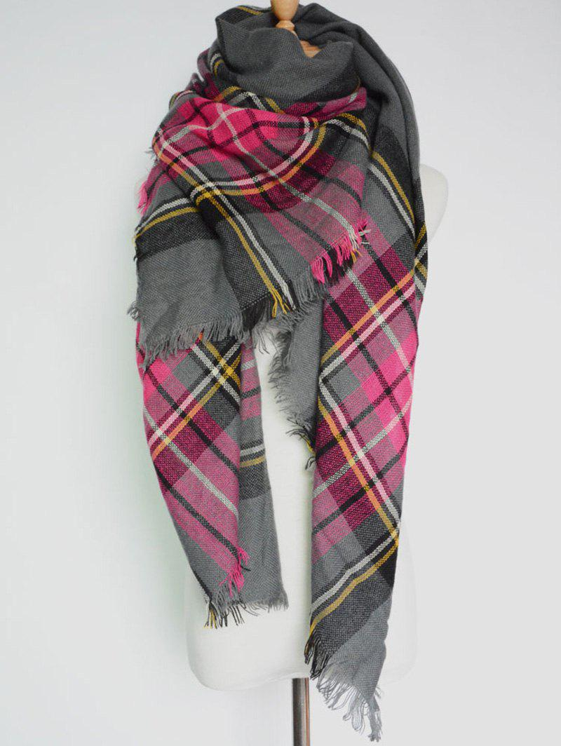 Casual Plaid Pattern Fringed Big Square Scarf fringed plaid doodle scarf