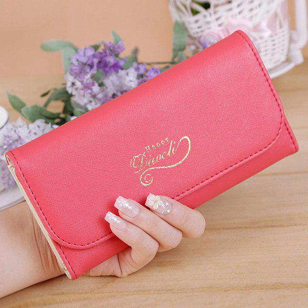PU Leather Snap Letter Print Wallet