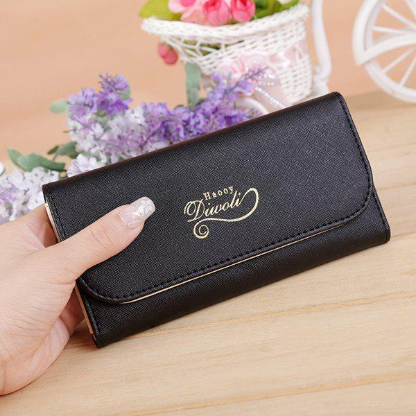 PU Leather Snap Letter Print Wallet - BLACK