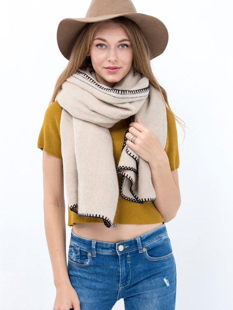 Casual Hemming Long Scarf - OFF WHITE